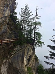 Hiking On The Brink Of The Abyss (derNubo) Tags: europe switzerland wallis cransmontana bisseduro hiking hikingtrail mountains alps trees clouds
