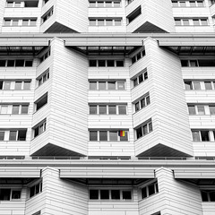 show the flag (j.p.yef) Tags: peterfey jpyef yef germany hamburg house residentialbuilding facade windows germanflag bw sw selectivecolor architecture