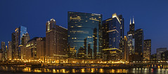 Chicago Skyline.... (Kevin Povenz) Tags: 2016 april kevinpovenz illinios chicago evening night lights dusk city cityscape buildings skyscrapers panoramic canon7dmarkii windycity blue yellow architecture skyline building outdoor outside skyscraper reflection