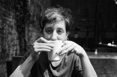 Coffee in Brooklyn (DoubleBen) Tags: nikon 35ti ilford film35mm film 35mm hp5 400 iso coffee mug brooklyn brunch backyard cafe
