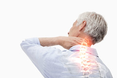 neck-pain (mghresearchinstitute) Tags: 40s matureadult man male caucasian ache back backache background body casual cervical chronic cramp expression fingers hand head health healthcare hold hurt ill illness injured injury isolated massage medical medicine muscle muscular neck ouch pain painful problem shoulder sick skin sore spine stress suffer tension tired skeleton bone vertebrae glowing red highlighting showing