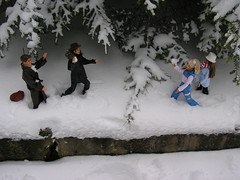 Snowball Battle (larry_boy17) Tags: snow ski cold weather fun outside outdoors fight funny doll dolls courtney ken barbie hats first battle suit coats fighting anastasia snowballs dimitri xfiles jointed flipndive
