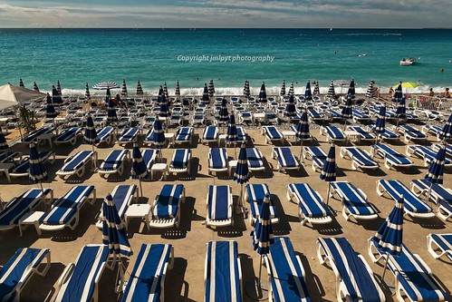 Blue Lounge Chairs on the French Riviera