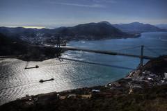 Kanmon Bridge (ogawa san) Tags: bridge sea sun water japan  yamaguchi straits   kokura   shimonoseki   kanmon  kyushuu     ganryujima  honshuu  mokji
