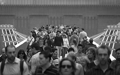your face mingled in the crowd (timsnell) Tags: bridge people blackandwhite london walking walk crowd millenniumbridge tatemodern southbank depthoffield bankside