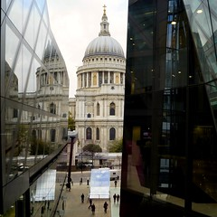 Between the Glass. (Becca Swift) Tags: london rooftop lift view cathedral terrace stpauls stpaulscathedral