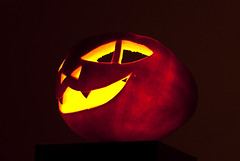 Halloween pumpkin (Oleg Timashov) Tags: red halloween smile yellow night dark pumpkin fire scary