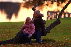 *** (llakstedt) Tags: autumn boy castle fall girl leaves forest finland children fun golden leaf child fallcolors lakeside autumncolors hmeenlinna aulanko