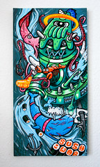 """SUSHI WAR"" (AgeAge) Tags: xmas urban fish berlin net painting sushi graffiti paint pieces machine style canvas urbanart whale hook merrychristmas molotov angelika markers granma 2014 brusch ageage littlepresent charakterdesign sushiwar paod graffitioma"
