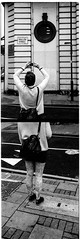 London Street: Visit with Elyse (christait) Tags: street uk woman london diptych photographer britain leggings filmstrip fashionable ilforddelta3200 leicam3 ilfotechc elysebouvier instagramming zorky50mmf2jupiter8