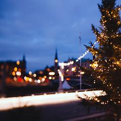 Swedish experience (Sator Arepo) Tags: christmas city blue winter urban tree canon square sweden stockholm bokeh fir 5d 24mm desember tse markii ststephen tiltshift