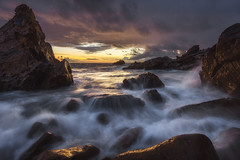 FireWater (Michael Bandy) Tags: ocean sunset sea sunlight seascape beach water clouds landscape rocks waves rocky orangecounty theoc coronadelmar