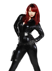 Agent Shez (Szmytke) Tags: red sexy pose scotland model cosplay secret special agent tight spandex catsuit sherylanne
