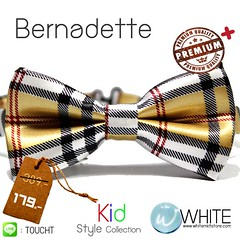 Bernadette - หูกระต่ายเด็ก ลายสก๊อต สีทอง ดำ ขาว เนื้อผ้าผิวมัน เรียบ Premium Quality