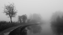 Rochdale Canal (pjfchad) Tags: trees mist misty fog canal foggy barge towpath rochdalecanal