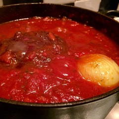 A cauldron of bubbling beefy goodness.
