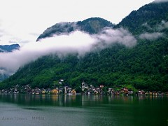 Hillside Mist. (Aaron T Jones) Tags: morning mist mountain lake alps austria sterreich fuji finepix s7000 fujifilm hillside vilage oesterreich salzkammergut hallstatt