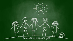 Friends Are Gods Gift HD Wallpaper (StylishHDwallpapers) Tags: friends sun kids sketch friendship gift diagram gods