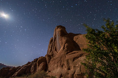Red Rocks in the Moonlight (waterrocksnow) Tags: longexposure moon rock night stars utah sandstone glow fisheye moab archesnationalpark bigdipper