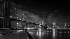 Brooklyn Bridge BW (pyrospawn) Tags: nyc newyorkcity summer bw newyork hot blackwhite brooklynbridge newyorkskyline hdr humid infared 2016 brooklynbridgepark sonya7ii sony1635mmvariotessartfef4zaoss
