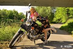 Mel on Yamaha (Mr.Whit3) Tags: yamaha girl sun summer xv250 virago bike motorcycle chopper