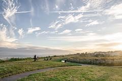 Southbourne's sunset (Agata Winiarska) Tags: uk blue sunset england sky people green nature grass landscape dorset bournemouth