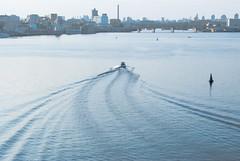 Boat tour on the Dnipro (Jane Sometimes) Tags: bridge blue sunset sky water river island boat iron top center skirt ukraine catamaran pedestrians elevation kiev teenage dnepr pechersk trukhanov