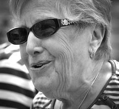 She liked a nice chat (Nikonsnapper) Tags: street portrait bw bath candid olympus grab unposed zuiko omd em1 75mm