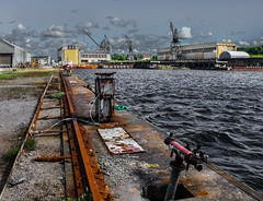 Abandoned Shipyard (bjorbrei) Tags: shipyard industry railroadtrack fredrikstadmekaniskeverksted vrste water harbor harbour krkery fredrikstad norway