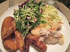 Deli Chicken dinner (annesstuff) Tags: annesstuff food chicken delichicken roastchicken kalesalad coleslaw potato