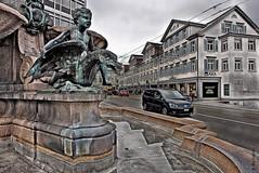 St.Gallen (welenna) Tags: architecture switzerland winter sity stadt brunnen fontne denkmal stgallen