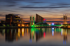 Dusk at Salford Quays (G-WWBB) Tags: sunset reflections dusk redsky skies clouds reflect waterfront water warmskies imperialwarmuseum iwm salfordquays salfordquaysliftbridge salfordquaysmillenniumfootbridge millenniumfootbridge millenniumbridge thequays