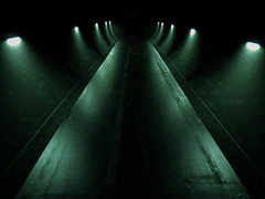 The Green Mile (Steve Taylor (Photography)) Tags: green mile tunnel lights light monotone monocolour monocolor lowkey eerie spooky newzealand nz southisland canterbury christchurch perspective ymca spectrum