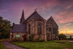 HDR in Newcastle, England. Sky was perfect and I ran around looking for something to put underneath it. Turned out well (matthewcann) Tags: theworld travel unitedkingdom england newcastle timing purple church nikonj5 hdr goldenhour shepherdsdelight sunset