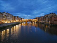 Firenze (terri-t) Tags: firenze florence ponte vecchio arno river landscape reflection blue cloudy water city italy