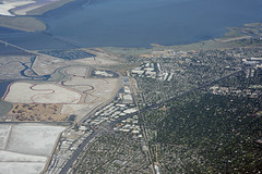 Aerial view of Atherton, Menlo Park, and East Palo Alto, San Mateo County, California (cocoi_m) Tags: california sanfranciscobay eastpaloalto highway101 menlopark facebook atherton aerialphotograph sanmateocounty dumbartonbridge saltevaporationpond