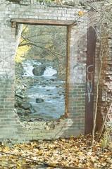 Submerged Renewed (puddlejumper12) Tags: plant brick abandoned film water leaves river graffiti nikon rust riverside kodak decay room falls mount waterfalls weathered 1970s ida derelict fm2 hydroelectric