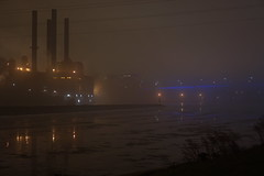down by the river (lenoredoll) Tags: park bridge mist reflection ice fog night river mississippi neon minneapolis mn 35w unedited millruins southeaststeamplant