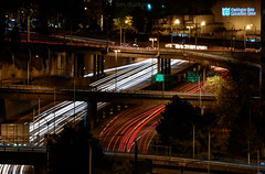 light trails (Tim Durkan) Tags: christmas light moon cold tree night december i5 trails freeway spaceneedle todd 2014
