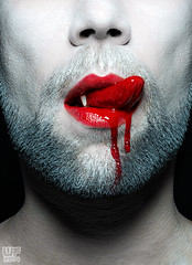 Damien Thorn - Damien's Kiss (WF portraits) Tags: red portrait hairy white male studio beard blood model vampire lips bih