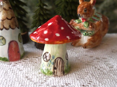 Porcelain Red Mushroom Ornament (Cynthia Cranes Art and Pottery) Tags: christmas red sculpture mushroom woodland crane ornament clay fox cynthia porcelain