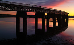 Tay Rail Bridge Autumn Sunset (scrimmy) Tags: autumn sunset night reflections scotland afternoon riverside rivertay dundee ripples railways tayrailbridge abigfave
