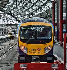Classmates (whosoever2) Tags: uk greatbritain roof england station rail gb tpe merseyside 2014 transpennineexpress liverpoollimestreet class185 185148 firsttpe