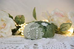 2014.12.19ThirdAdventPC14 (ivoryblushroses) Tags: christmas white green rose beads advent lace embroidery cd cq embellishment stitching pincushion crazyquilting