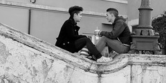 Couple on Spanish Steps (Leon Sammartino) Tags: street bw italy white black rome roma love look italian italia steps tourist spanish coupke teensagers