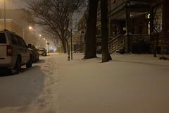 Blizzard of Desire (jessrawk) Tags: street trees winter 6 snow sign night lights glow ottawa snowstorm footprints nighttime stop stopsign trucks 365 stomp six blizzard sparkly tracksinsnow frankstreet snowmageddon