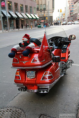 Touring by motorcycle at Christmas time (Canadian Pacific) Tags: red orange toronto ontario canada honda canadian motorbike motorcycle touring goldwing reddish orangey carltonstreet aimg3999