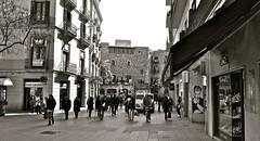 Street...Barcelona (MickyFlick) Tags: barcelona city blackandwhite bw history tourism monochrome spain europa europe streetscene catalonia tourists spanish historical catalunya touristattraction catalan cataluna occitan catalona touristdestination catalonha avportaldelangel