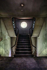 (Subversive Photography) Tags: house green history abandoned stairs photoshop dark lost mood belgium decay atmosphere staircase urbanexploration portal chateau manor left derelict hdr urbex danielbarter