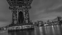 Under the Manhattan Bridge (rayordanov) Tags: newyorkcity monochrome night manhattanbridge eastriver twobridges